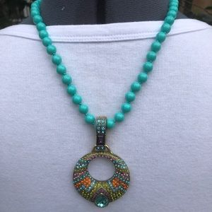 Heidi Daus enhancer Pendant Necklace Turquoise NWT
